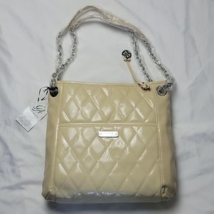 GRACE ADELE Alex Quilted Patent Bag Stone